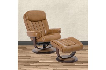 Bramley Butterscotch Manual Reclining Swivel Chair And Ottoman
