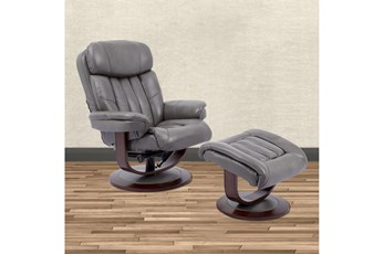 Bramley Grey Manual Reclining Swivel Chair And Ottoman