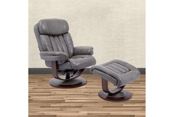Bramley Grey Manual Reclining Swivel Chair And Ottoman
