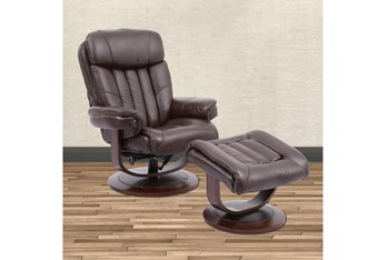 Bramley Brown Manual Reclining Swivel Chair and Ottoman