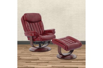 Bramley Red Manual Reclining Swivel Chair And Ottoman