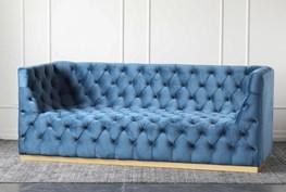 Steel Blue Velvet Tufted Sofa