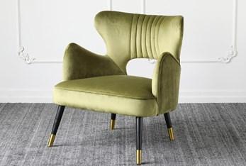 Olive Green Velvet Accent Chair