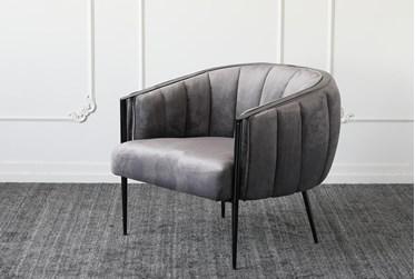 Grey Velvet + Metal Frame Accent Chair