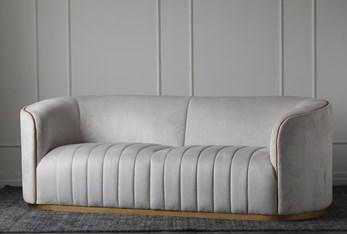 Cream Suede Channel Seat Sofa
