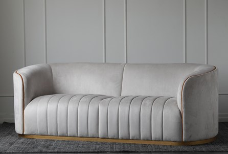 Cream Suede Channel Seat Sofa - Main