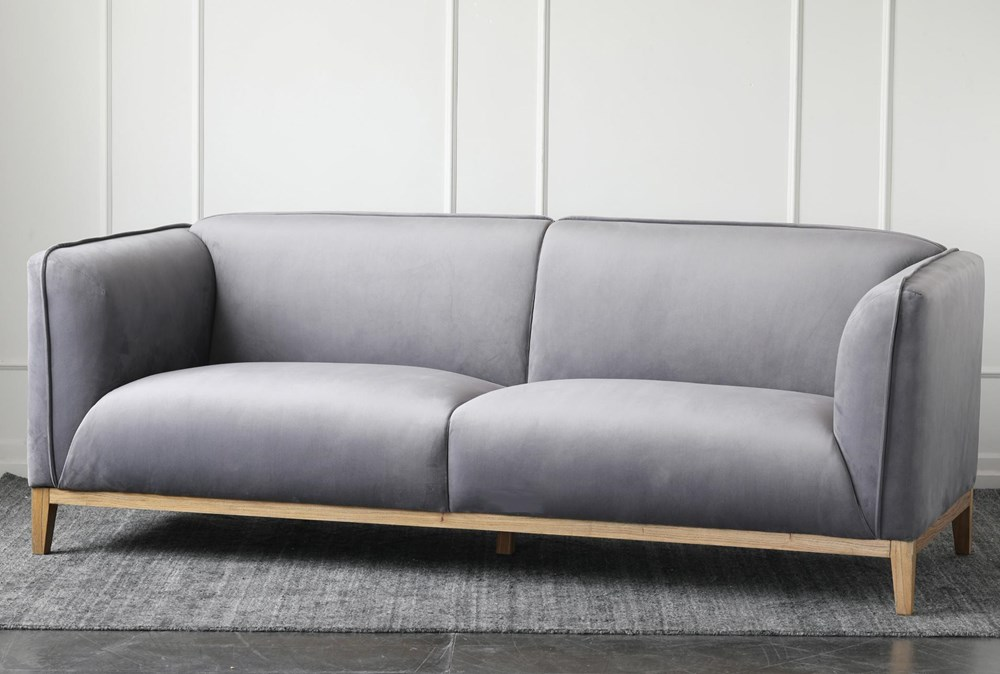 Grey Velvet Sofa With Wood Base