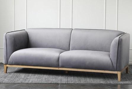 Grey Velvet Sofa With Wood Base - Main