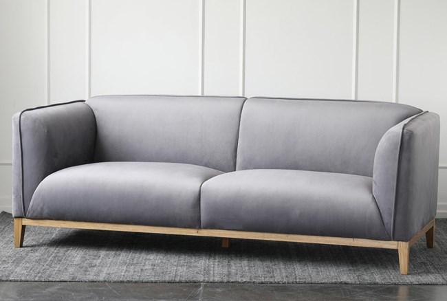 Grey Velvet Sofa With Wood Base - 360