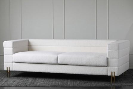 White Sherpa Channel Sofa - Main