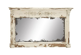 59X36 Inch Cream Vintage Wood Mantel Wall Mirror