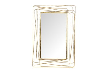 31X47 Inch Gold Metal Contemporary Wall Mirror