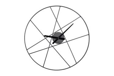 24X24 Inch Black Metal Lines Round Wall Clock