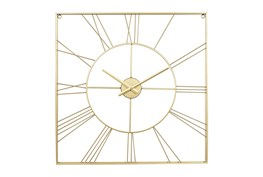 24X24 Inch Gold Metal Roman Numerial Square Wall Clock