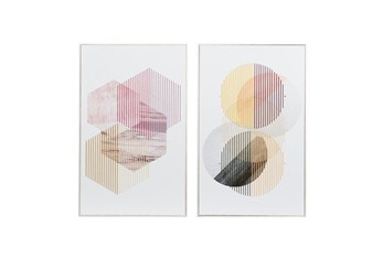 20X32 Inch Multi Colored Geometric String Art- Set Of 2