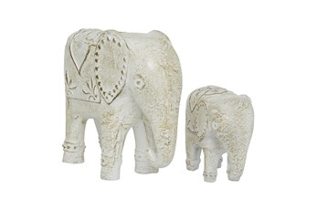 13 & 8 Inch White Elephant Sculpture- Set Of 2
