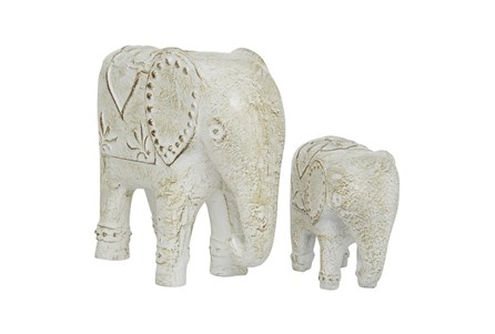 13 & 8 Inch White Elephant Sculpture- Set Of 2 - Main