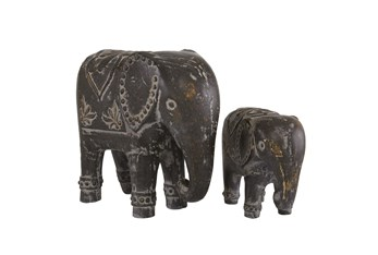 13 & 8 Inch  Brown Elephant Sculpture-Set Of 2