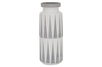 17 Inch Grey + White Geometric Ceramic Vase