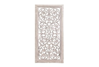24X51 Inch Cream Wood Floral Vine Wall Panel