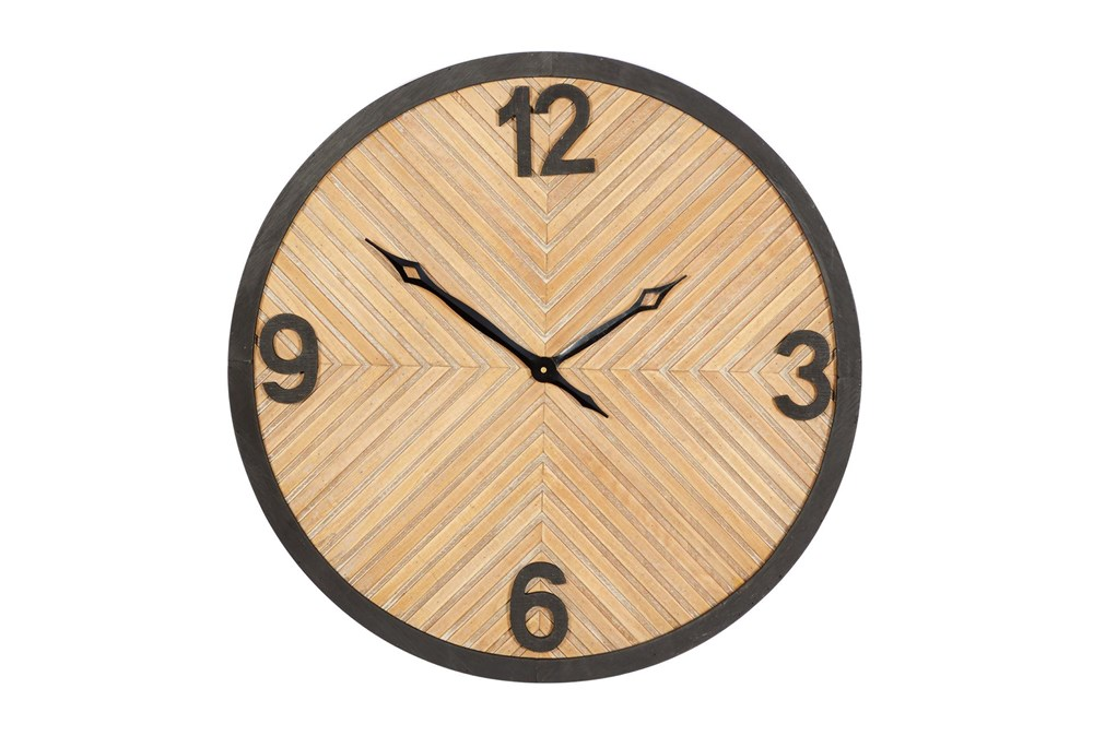 25X25 Inch Metal + Wood Textured Round Wall Clock