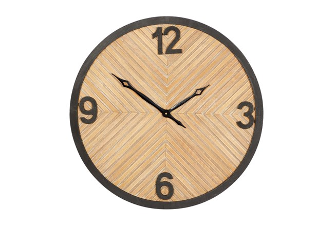 25X25 Inch Metal + Wood Textured Round Wall Clock - 360