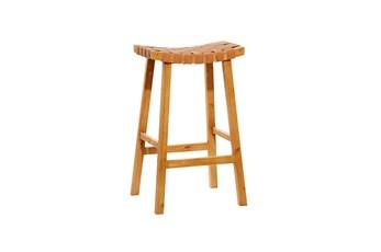 30 Inch Tan Leather Basketweave Barstool