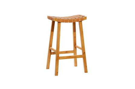 30 Inch Tan Leather Basketweave Barstool - Main