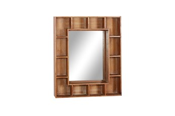 24X29 Inch Wood Cubbie Wall Mirror