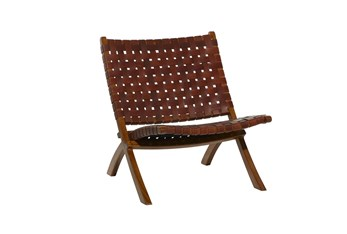 Brown Leather Basketweave Folding Accent Chair