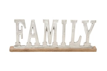 8 Inch Silver + Wood Family Sign Decor
