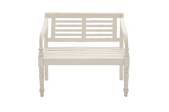 40 Inch White Antiqued Wood Slat Back Bench