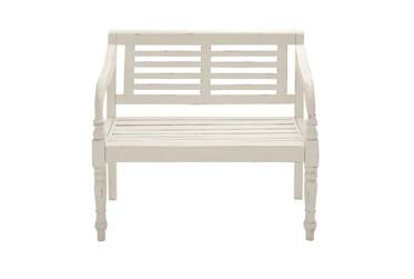 40 Inch White Antiqued Wood Slat Back Bench