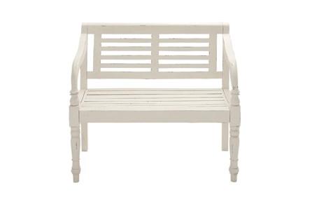 40 Inch White Antiqued Wood Slat Back Bench - Main