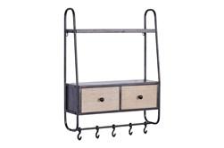 24X32 Inch Metal + Wood Drawer Wall Shelf With Hooks