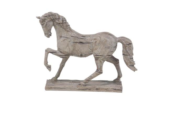 18 Inch Beige Polystone Horse Sculpture - 360