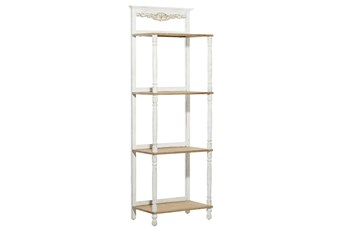 71 Inch White + Brown Antiqued Wood 4 Tier Shelf