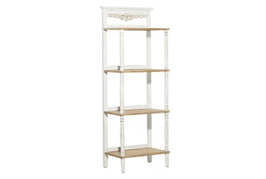 58 Inch White + Brown Antiqued Wood 4 Tier Shelf