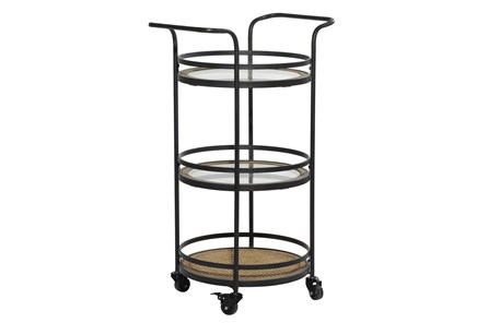 21 Inch Round Iron 3 Tier Bar Cart - Main
