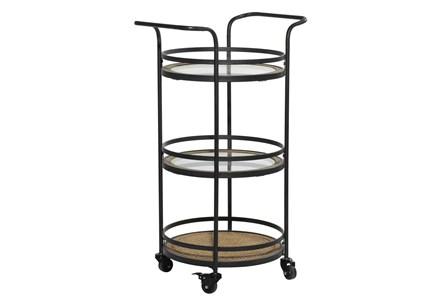 21 Inch Round Iron 3 Tier Bar Cart - Main