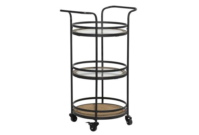 21 Inch Round Iron 3 Tier Bar Cart - 360