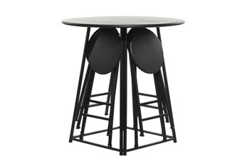 36 Inch Metal Counter Table With 4 Fold Out Stools