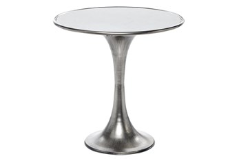 25 Inch Silver Ceramic Round Accent Table With Marble Top