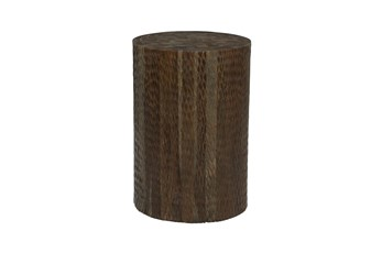 18 Inch Brown Textured Teak Wood Round Stool