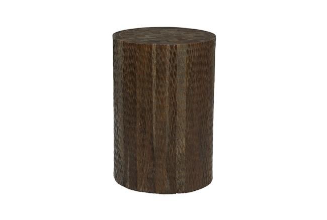18 Inch Brown Textured Teak Wood Round Stool - 360