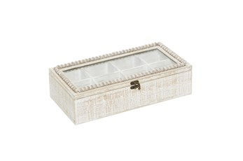 16 Inch White Wood Beaded Trim Decorative Box
