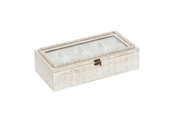 16 Inch White Wood Beaded Trim Decorative Box