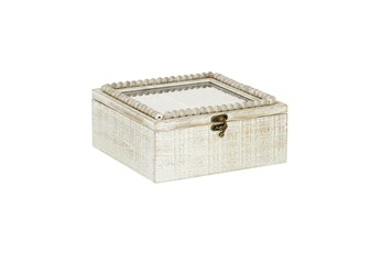 10 Inch White Wood Beaded Trim Decorative Box