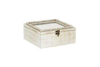 10 Inch White Wood Beaded Trim Decorative Box
