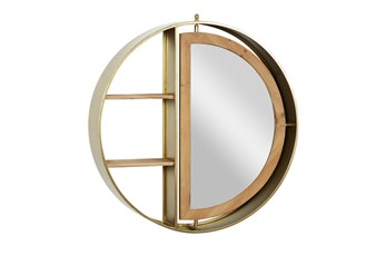 27 Inch Gold Metal + Wood Wall Shelf With Mirror